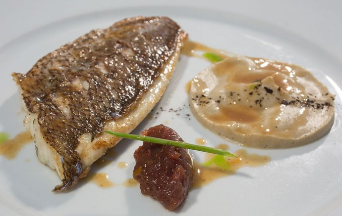 Sea bream with eggplant purre and tomato jam